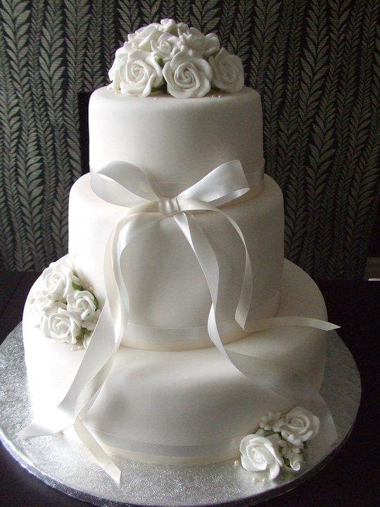 White Flower Themed 3 Tier Wedding Cake 2