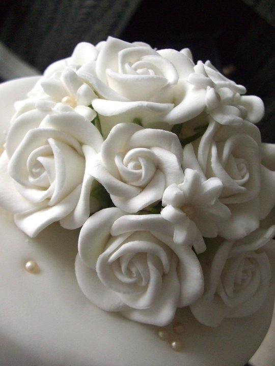 White Flower Themed 3 Tier Wedding Cake 3