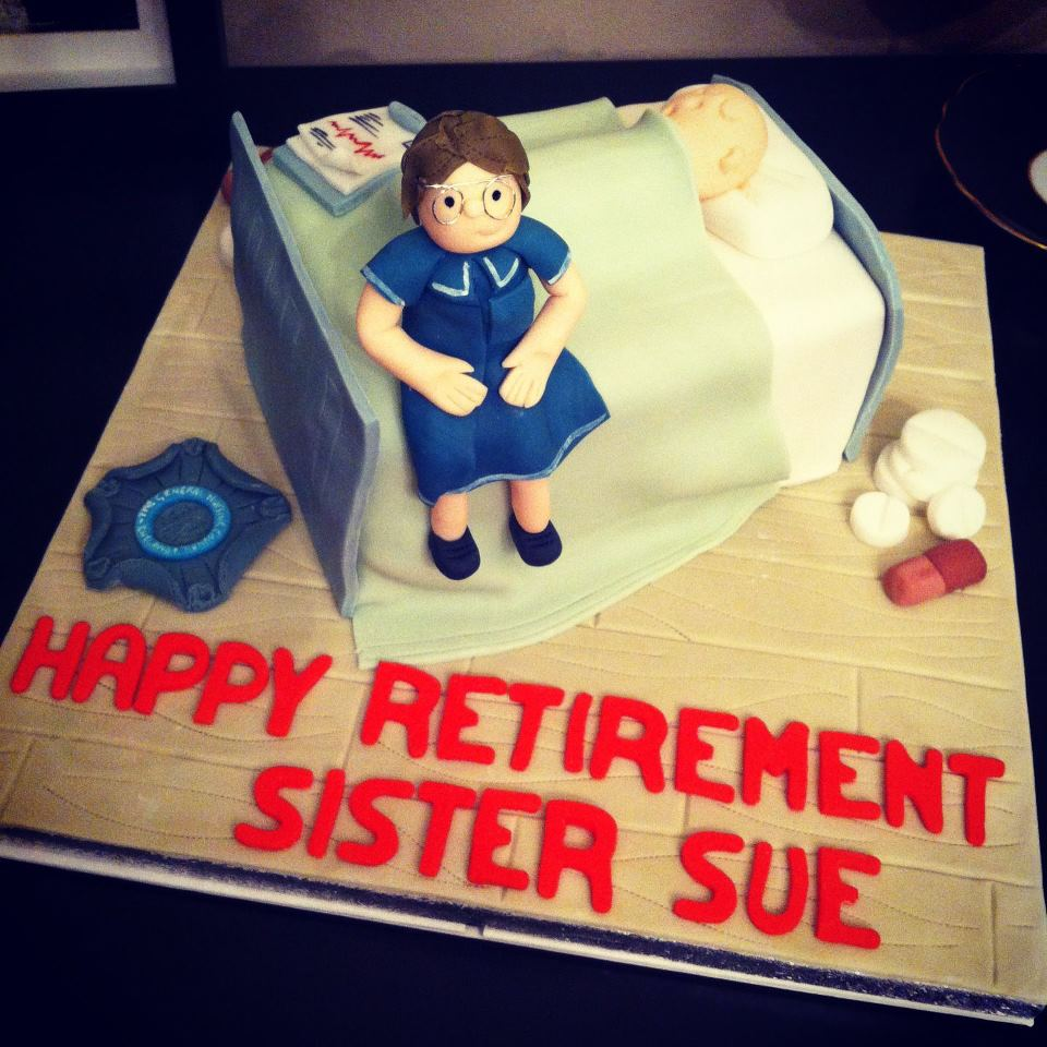 Nurse And Hospital Bed Retirement Cake
