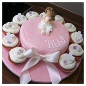 Pink Communion Cake And Cup Cakes