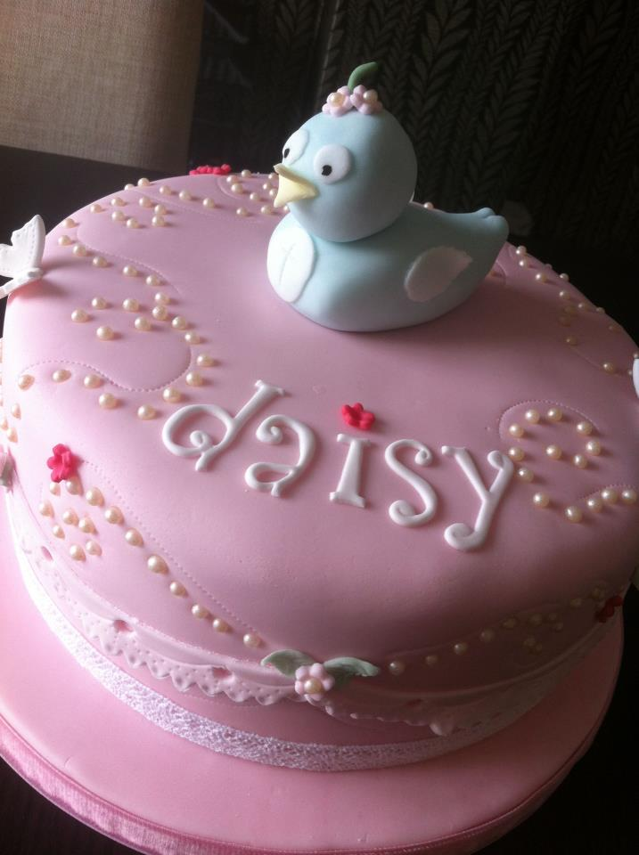Pink Pearl And Chick Cake