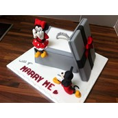Disney, Mickey & Minnie Cake, Engagement cake, proposal cake. Licky Lips Cakes liverpool