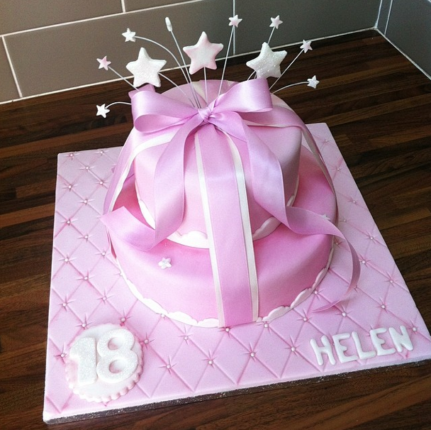 Pink Girly Cake Ribbon Licky Lips Cakes Liverpool