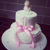 Frills and Floral Christening cake  - licky lips cakes liverpool