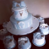 Bunting cake with mini cakes christening Favourite memories christening cake  - licky lips cakes liverpool