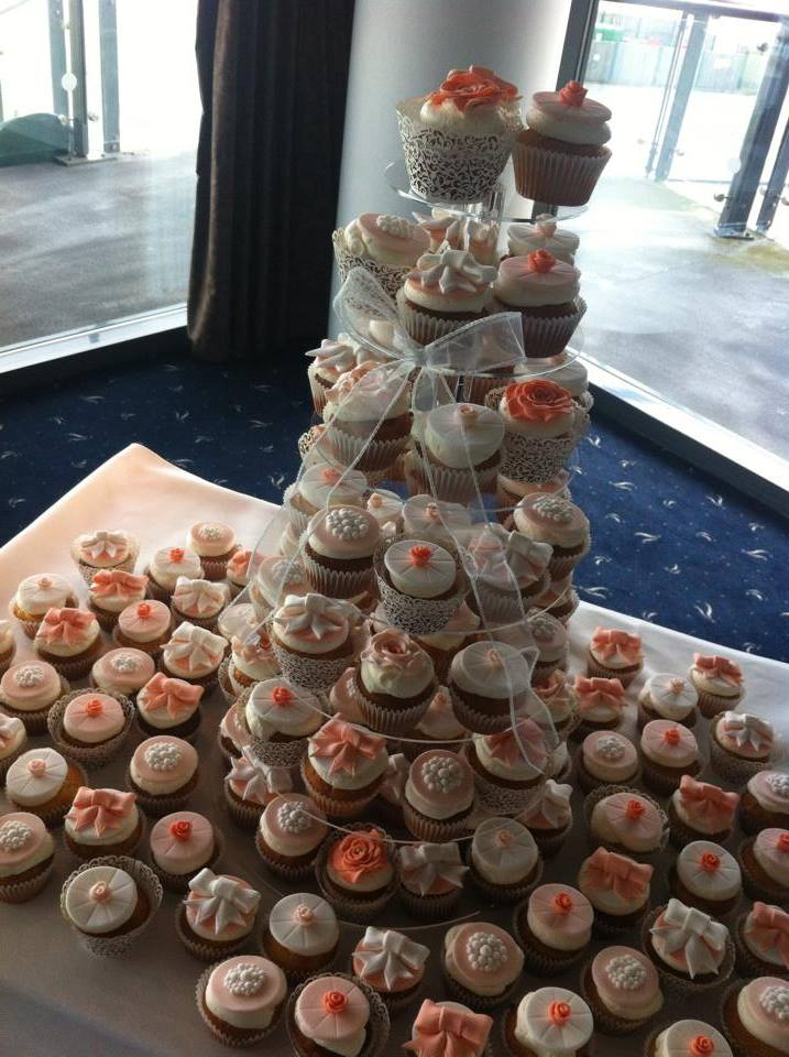 Coral and white cupcakes  - licky lips cakes liverpool