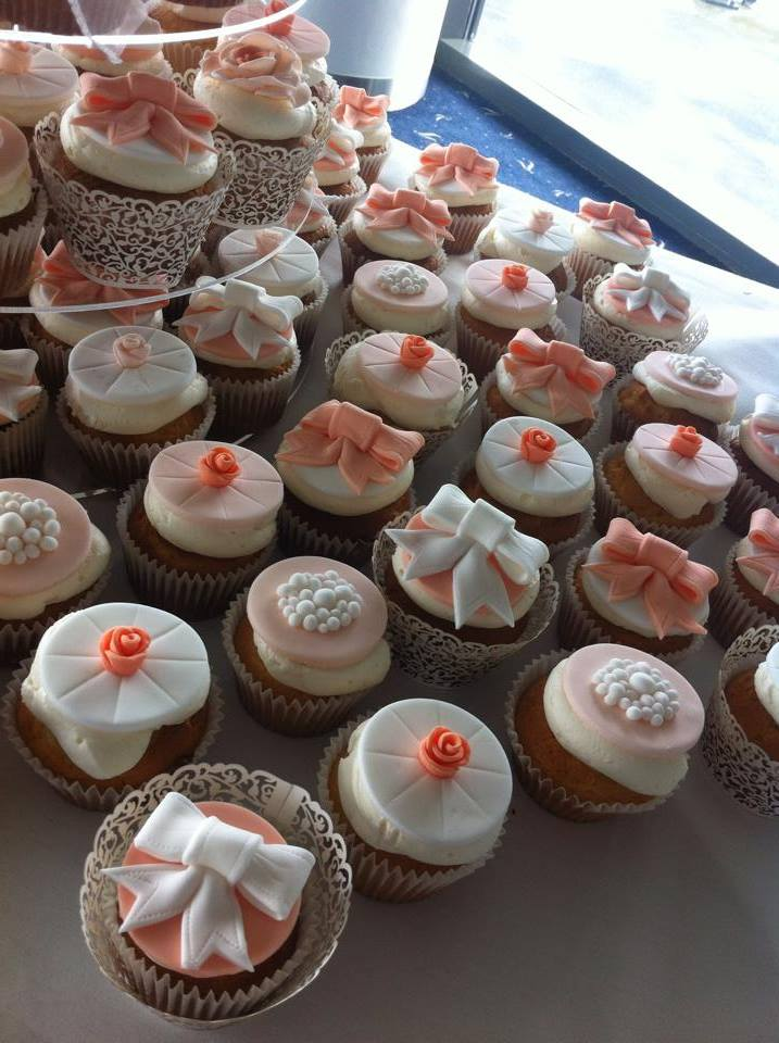 Coral and white cupcakes  - licky lips cakes liverpool 2
