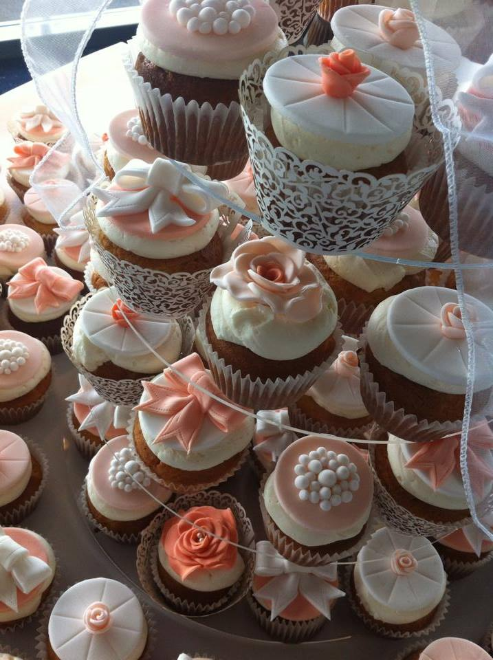 Coral and white cupcakes  - licky lips cakes liverpool 3