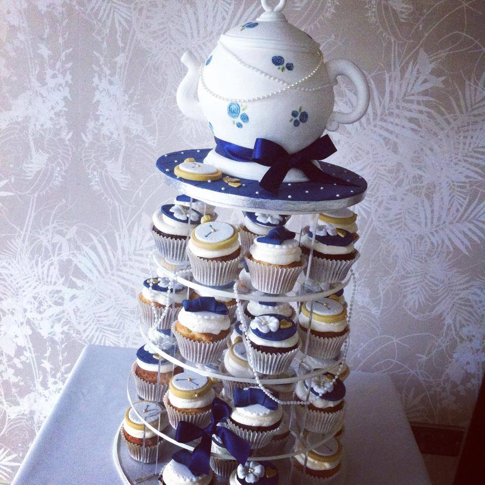 Vintage teapot wedding cake and cupcakes  - licky lips cakes liverpool