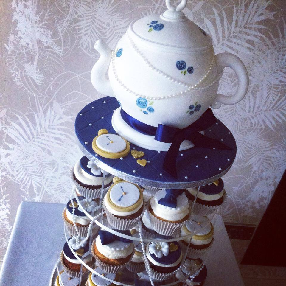 Vintage teapot wedding cake and cupcakes  - licky lips cakes liverpool 2