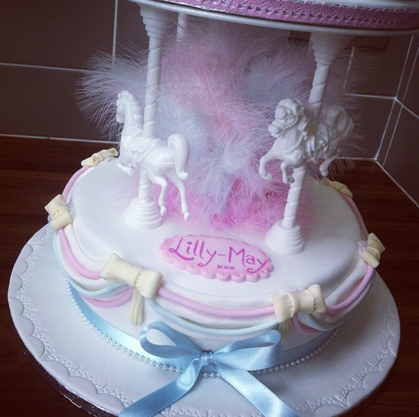 Pastel Carousel Christening Cake 2 Licky Lips Cakes Liverpool