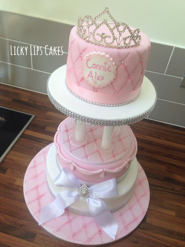 Princess tiara tiered cake 2 - Licky Lips Cakes Liverpool.jpg