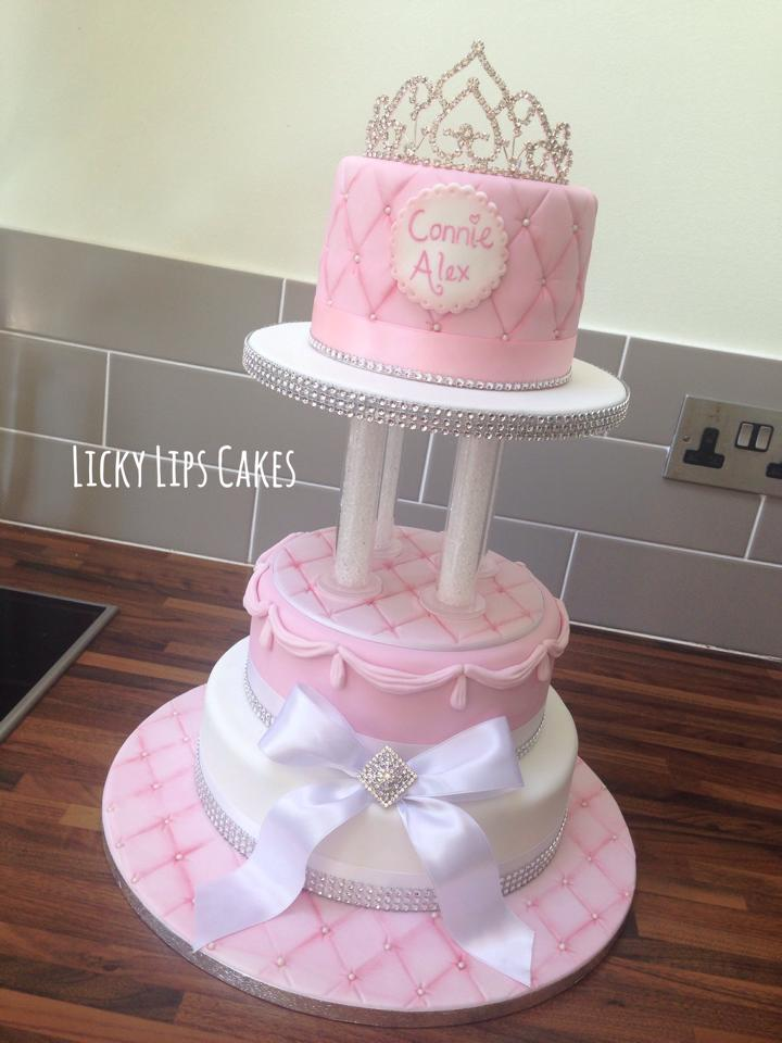 Princess Tiara Tiered Cake Licky Lips Cakes Liverpool